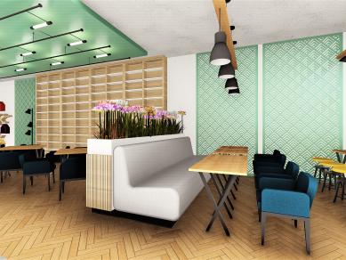 Проект 61B: Кафе – книжарница. Интериор на обществено пространство